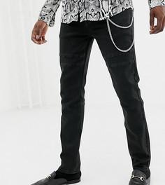 Байкерские джинсы скинни с цепочкой Heart & Dagger - Черный