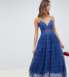 Кружевное платье миди для выпускного ASOS DESIGN - Синий