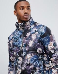 Дутая куртка с цветочным принтом boohooMAN - Темно-синий