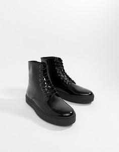 Черные блестящие ботинки на шнуровке Zign - Черный