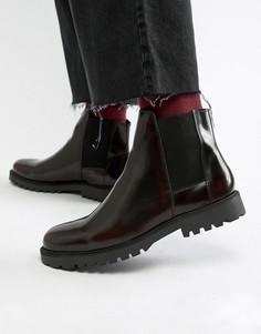 Бордовые лакированные ботинки челси Zign - Красный