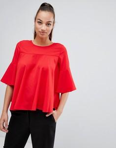 Топ с оборками на рукавах AX Paris - Красный