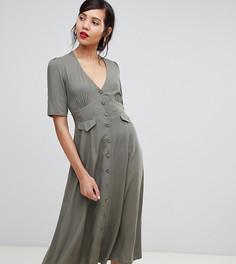 Приталенное платье миди с карманами ASOS DESIGN Tall - Зеленый