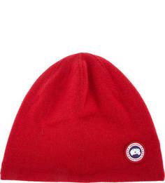 Красная шерстяная шапка с подкладкой Canada Goose