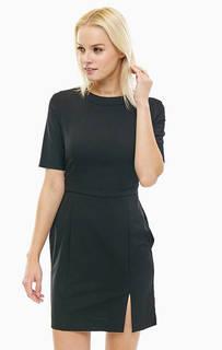 Приталенное черное платье с добавлением шерсти United Colors of Benetton