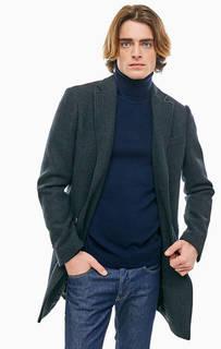 Полушерстяное пальто серого цвета United Colors of Benetton