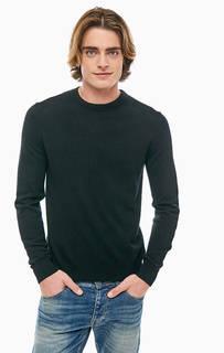 Полушерстяной джемпер черного цвета United Colors of Benetton