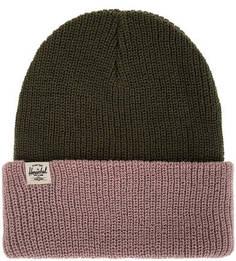 Двухцветная шапка мелкой вязки с отворотом Herschel