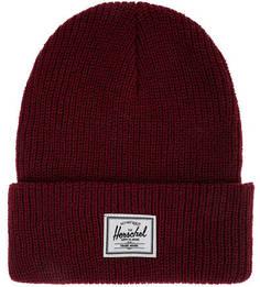 Бордовая шапка мелкой вязки с отворотом Herschel