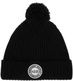 Черная шапка мелкой вязки с помпоном Herschel