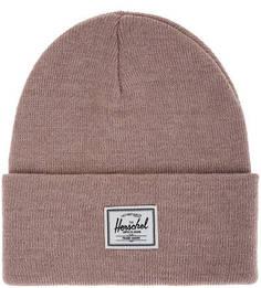 Розовая шапка мелкой вязки с отворотом Herschel