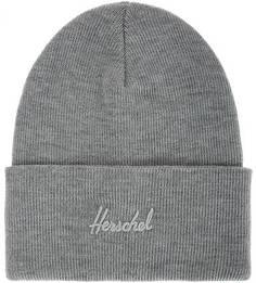 Серая шапка мелкой вязки с декоративной вышивкой Herschel