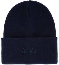 Синяя шапка мелкой вязки с декоративной вышивкой Herschel