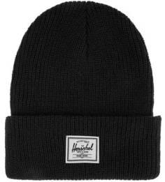 Черная шапка мелкой вязки с отворотом Herschel