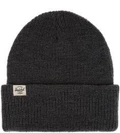 Серая шапка мелкой вязки с отворотом Herschel
