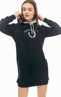 Короткое хлопковое платье с капюшоном и карманом-кенгуру Fred Perry