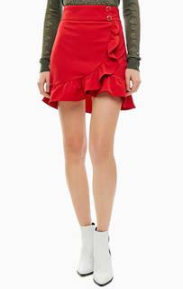 Короткая красная юбка оригинального кроя Kocca