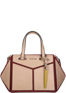 Кожаная сумка на молнии с нашивками Cromia
