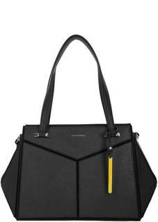 Кожаная черная сумка с тремя отделами Cromia