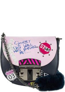 Маленькая кожаная сумка через плечо с ярким декором Cromia
