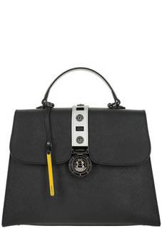 Кожаная черная сумка с откидным клапаном Cromia