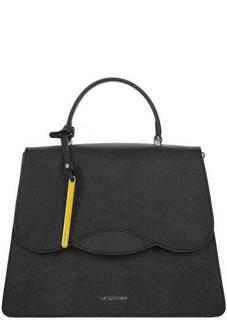 Черная кожаная сумка в форме трапеции Cromia