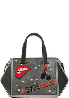 Кожаная сумка на молнии с вышивкой Cromia