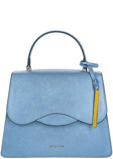 Голубая кожаная сумка с двумя отделами Cromia