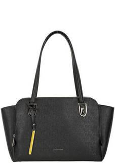 Черная кожаная сумка с длинными ручками Cromia