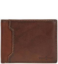 Коричневое кожаное портмоне с отделением для мелочи на кнопке Gianni Conti