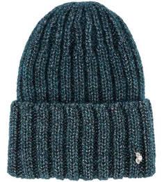 Бирюзовая шапка с металлизированной нитью Noryalli