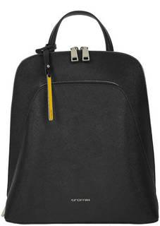 Черный кожаный рюкзак с отделением для планшета Cromia