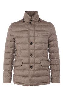 Пуховая куртка на пуговицах с воротником-стойкой Moorer
