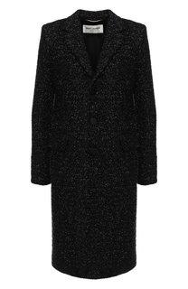 Пальто прямого кроя с отложным воротником Saint Laurent