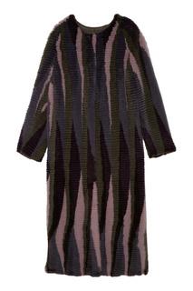 Длинная разноцветная шуба Izeta