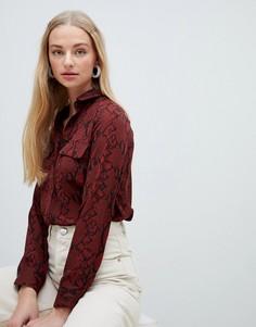 Рубашка с накладным карманом и анималистичным принтом New Look - Красный