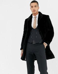 Черная шуба из искусственного меха Twisted Tailor - Черный
