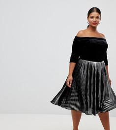 Бархатное платье с плиссированной юбкой металлик Lovedrobe - Серебряный