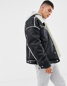 Черная куртка с искусственной овечьей шерстью COLLUSION - Черный