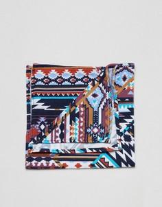 Платок для нагрудного кармана с ацтекским узором Moss London - Синий