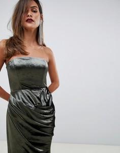 Бархатное платье макси бандо с драпировкой ASOS DESIGN - Зеленый