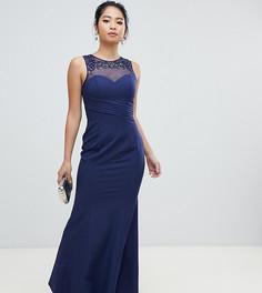 Темно-синее плиссированное платье макси с отделкой на горловине Little Mistress Petite - Темно-синий