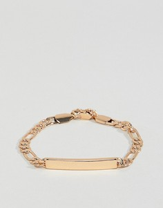 Золотистый браслет-цепочка с подвеской в виде идентификационного жетона Chained & Able - Золотой