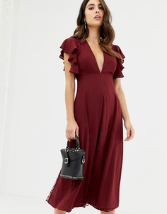 Платье миди с кружевными вставками ASOS DESIGN - Красный