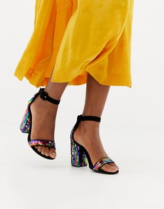 Босоножки на каблуке с разноцветными пайетками New Look - Мульти