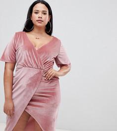Розовое бархатное платье миди с запахом Missguided Plus - Розовый