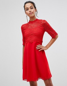 Платье с кружевным верхним слоем Liquorish - Красный