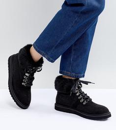 Походные ботинки с манжетами из искусственного меха Pieces Sally - Черный