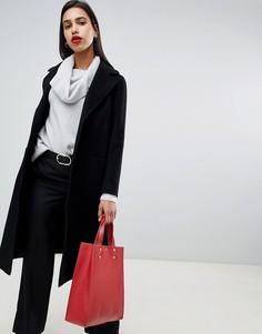 Свободное удлиненное пальто с отложным воротником и добавлением шерсти и кашемира Helene Berman - Черный