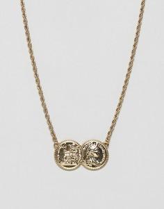 Золотистое ожерелье в винтажном стиле с двумя монетками ASOS DESIGN - Золотой